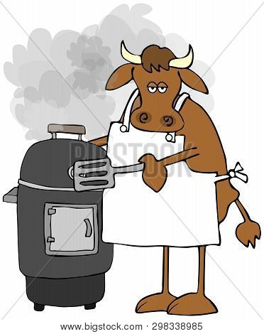 Illustration Of A Cow Wearing An Apron And Cooking Meat On A Smoker Grill.