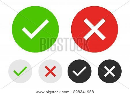 Set Of Chek Marks With Green, Red, Grey, Black And White Colours. Yes Or No Accept And Decline Symbo