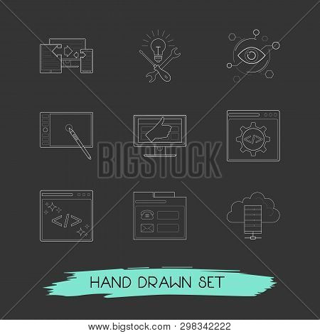 Set Of Web Design Icons Line Style Symbols With Responsive Design, Code Optimization, Usability And