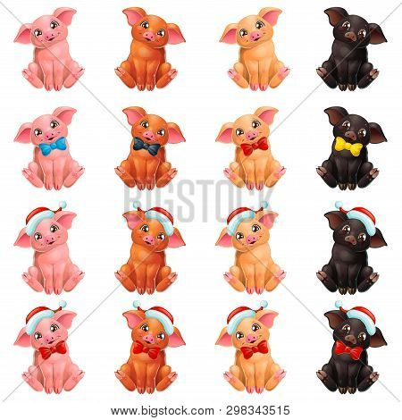 Set Cute Pigs With Bow And Cap