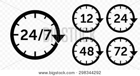 24 7 Vector Arrow, Customer Support, Delivery And Open Icons. Vector 12, 24, 48 And 72 Hours Deliver