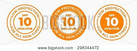 Spf 10 Sun Protection Uva And Uvb Vector Icons. Spf 10 Low Uv Protection Skin Lotion And Cream Packa