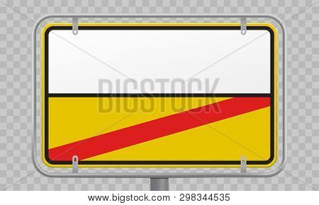 Road Sign, City Limit And Town Entry And Exit Blank Yellow And White Template. Vector Germany City B