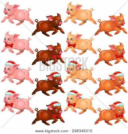 Set Runing Pigs With Bow And Cap