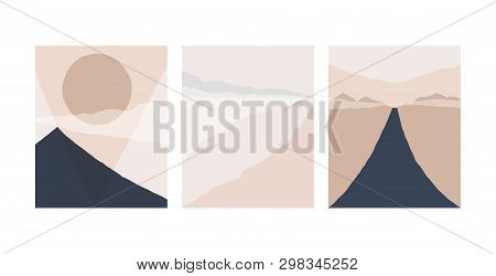 Set Of Abstract Landscape Background. Silhouette Of Mountain Sky And Sun Geometric Composition. Post
