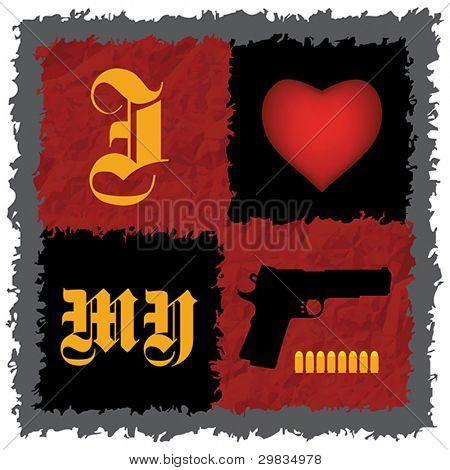 """""""I Love My Gun"""", Handgun with bullets -  concept T-shirt design"""
