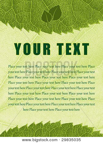 Template with ragged leaf texture background and editable text fields