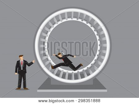 poster of Cartoon employee running hard in giant spinning human hamster wheel. Cartoon business illustration on corporate rat race metaphor isolated on grey background.