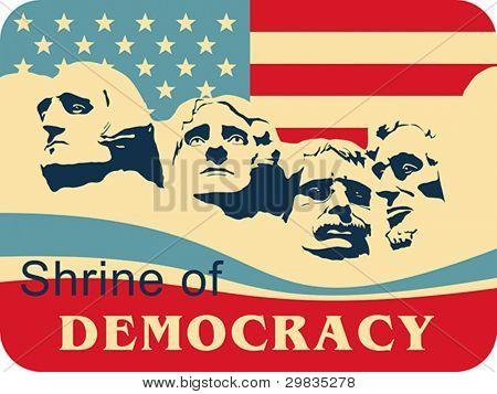 Mount Rushmore - Shrine of Democracy, South Dakota, Vector format EPS 8, CMYK.