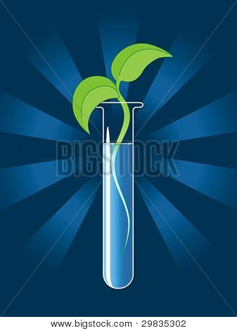 Green sprout from the test tube, Vector format EPS 8, CMYK.
