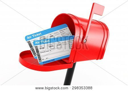 Airline Boarding Pass Tickets In Red Mailbox On A White Background. 3d Rendering