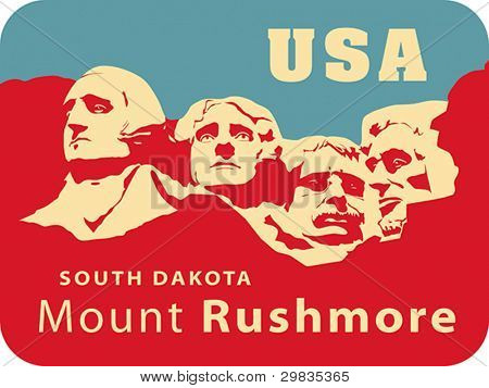 Mount Rushmore National Memorial, USA landmark, Shrine of Democracy. South Dakota. Vector format EPS 8, CMYK.