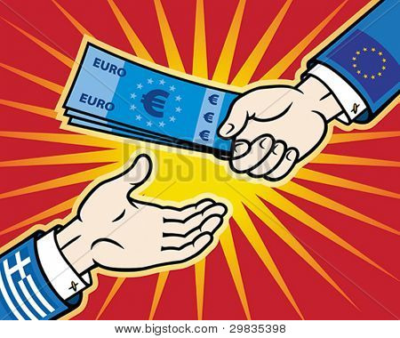 Hand (EU), giving euro banknotes to other hand (Greece), Vector format EPS 8, CMYK.
