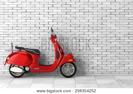 Red Classic Vintage Retro Or Electric Scooter In Front Of Brick Wall. 3d Rendering