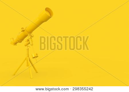 Yellow Modern Mobile Telescope On Tripod On A Yellow Background. 3d Rendering