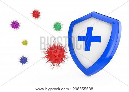 Antiviral Concept. Antibacterial Or Anti Virus Shield Protected From Virus Or Bacteria On A White Ba