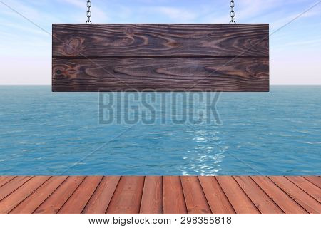 Vintage Wooden Signboard With Blank Space For Your Design In Front Of Beautiful Ocean View Extreme C