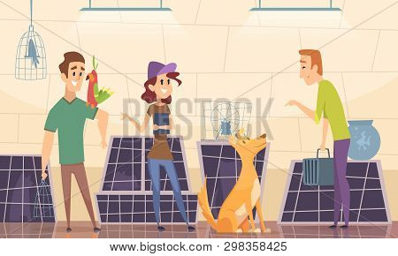 Animal Shelter. Owners Choose Puppy Dog In Cage Vector Cartoon Background. Animal Nursery, Kitty And