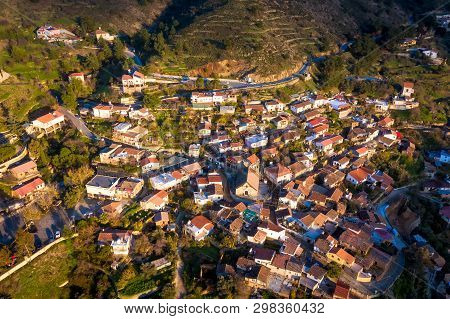 View Of Gourri Village At The Foothill Of The Machaira Mountain. Nicosia District, Cyprus
