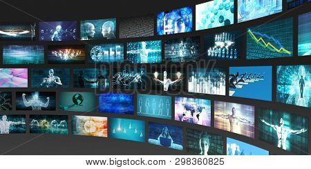 Media Technologies Concept as a Video Wall Background 3D Render