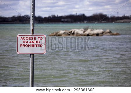Backgrounds Landscapes Riverfront Island Warning Access Prohibited