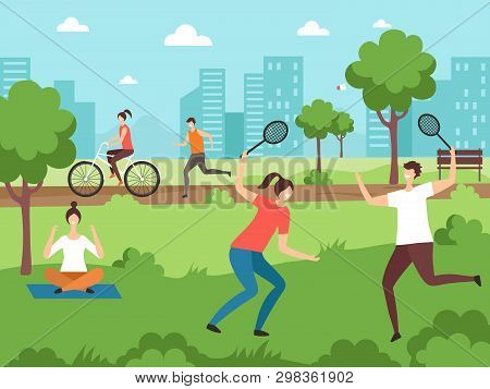 Outdoor Sport Activities. Fitness People Making Some Exercises In Park Outdoor Vector Couples. Illus