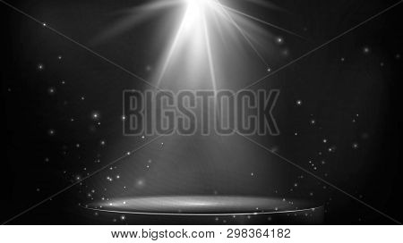 Stage Spot Lighting. Empty Floodlit Podium On Dark Background. Vector Illustration