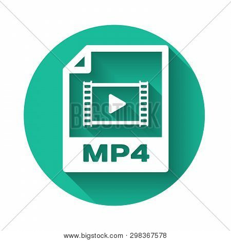 White Mp4 File Document Icon. Download Mp4 Button Icon Isolated With Long Shadow. Mp4 File Symbol. G