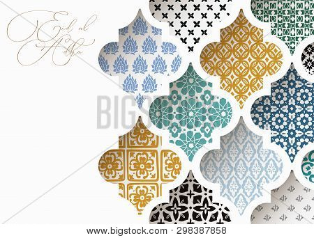 Muslim Holiday Eid Al Adha Greeting Card. Close-up Of Colorful Ornamental Arabic Tiles, Patterns Thr