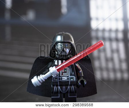 APRIL 28 2019: Darth Vader Lego mini figure with a lightsaber inside the Death Star.