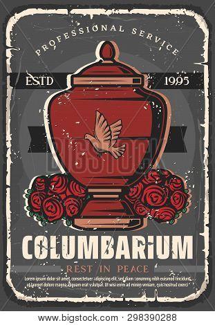 Funeral Service Agency Vintage Grunge Poster. Vector Columbarium, Cremation Urn Adn Black Rip Ribbon