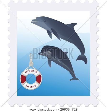 Postage Stamp - Dolphins And A Life Preserver - Isolated On White Background - Vector. Rest On The S