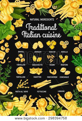 Italian Pasta Restaurant Menu. Vector Traditional Italy Cuisine Pasta Food Ravioli, Gnocchi Or Dital