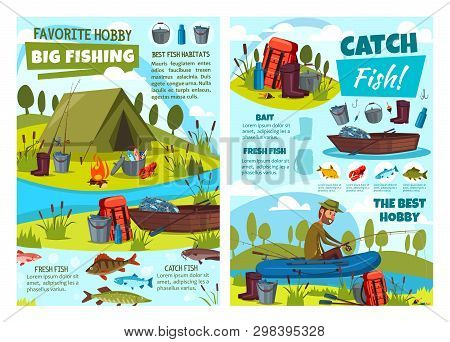 Fishing At Lake, Fisher Tackles And Lures Or Fish Catch Equipment. Vector Fishing Hobby Adventure At