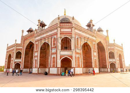 Delhi, India, 30 March 2019 - Humayuns Tomb Is The Tomb Of The Mughal Emperor Humayun In Delhi, Indi