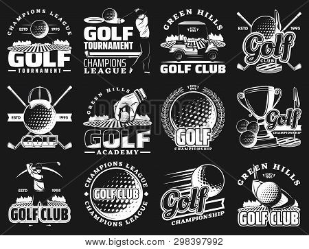 Golf Sport Club And Championship Or League Tournament Icons. Vector Golf Team Academy Badges Of Ball