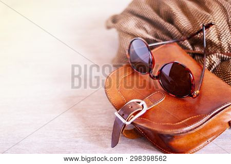 Summer Style. Fashion Summer Girl Clothes Set, Accessories. Trendy Sunglasses, Slippers, Handbag Clu