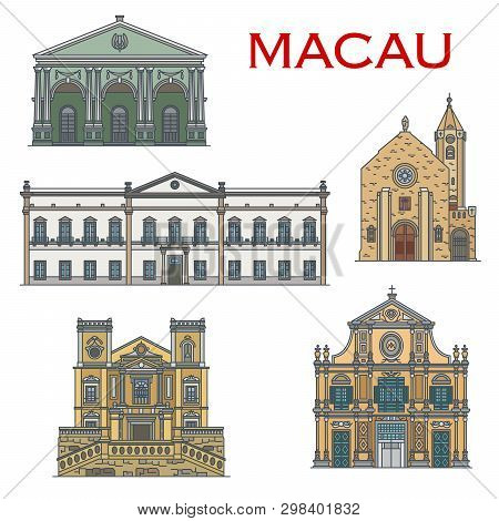 Macau Architecture And Famous Portuguese Heritage Landmark Buildings. Macao Penha Chapel, Saint Lawr