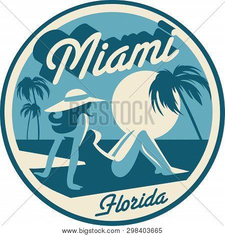 Miami Florida Beach Retro Style Postcard Vector Illustration