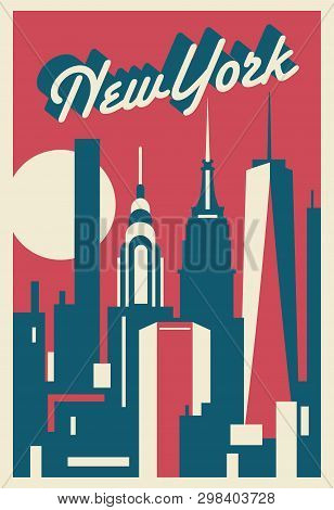 Manhattan New York City Retro Style Postcard Vector Illustrations