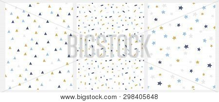 Set Of 3 Geometric Seamless Vector Pattern With Blue, Gold And Gray Dots, Triangles, Stars Isolated