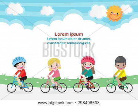 Happy Kids On Bicycles, Children Riding Bike, Healthy Cycling With Kids In Park, Group Of Child Biki
