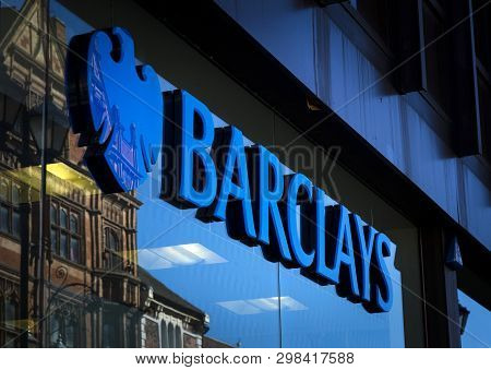 Barclays Bank Sign And Logo, High Street, Lincoln, Lincolnshire, Uk - 5th April 2018