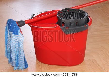 bucket with a mop
