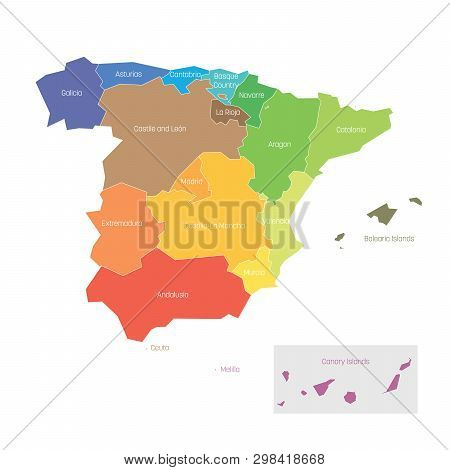 Political Divisions Of Spain. Map Of Regional Country Administrative Divisions. Colorful Vector Illu