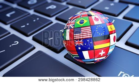 International World Flags Globe. Online Business And Worldwide Web Services Concept With Internation