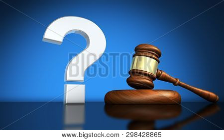 Law And Legal Questions Concept With A Silver Question Mark Symbol And A Wooden Judge Gavel On A Des