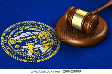 Nebraska Us State Law, Legal System And Justice Concept With A 3d Rendering Of A Gavel On Nebraskan