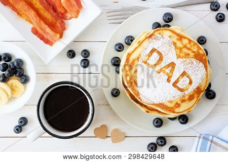 Fathers Day Pancakes With Heart Shape And Dad Letters. Fathers Day Breakfast Concept. Above View Tab