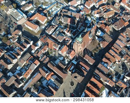 An image of an aerial view over Weil der Stadt Baden Wuerttemberg Germany